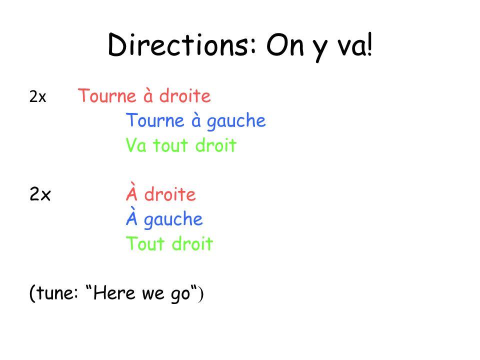 Directions: On y va! 2x Tourne à droite Tourne à gauche Va tout droit