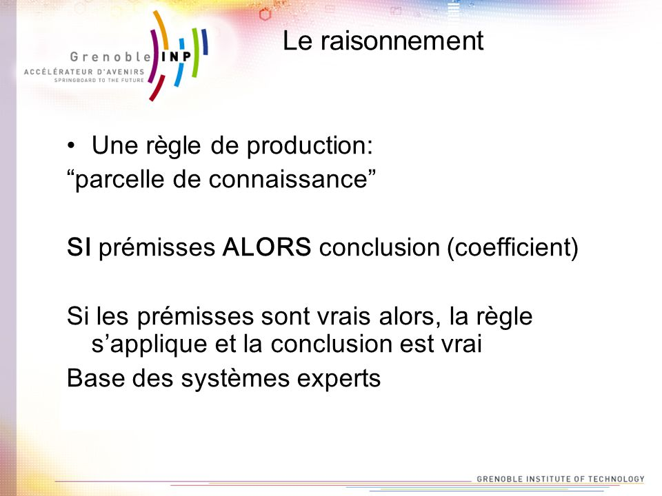 Le raisonnement Une règle de production: parcelle de connaissance