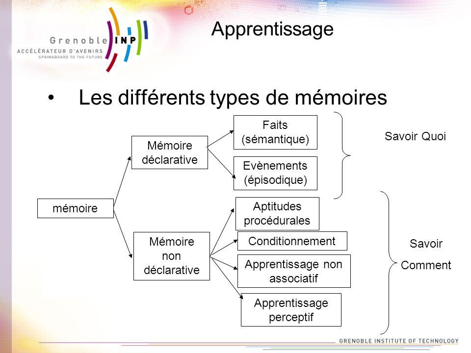 Les différents types de mémoires