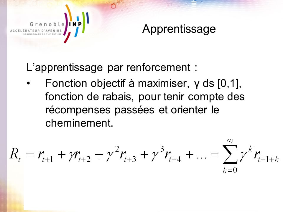 Apprentissage L'apprentissage par renforcement :