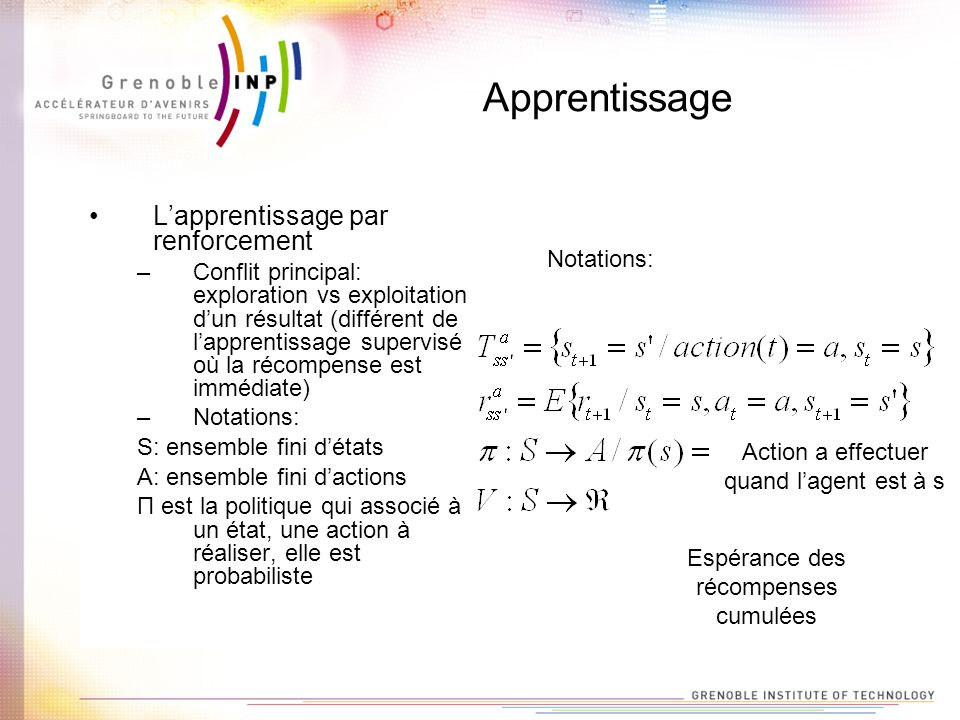 Apprentissage L'apprentissage par renforcement
