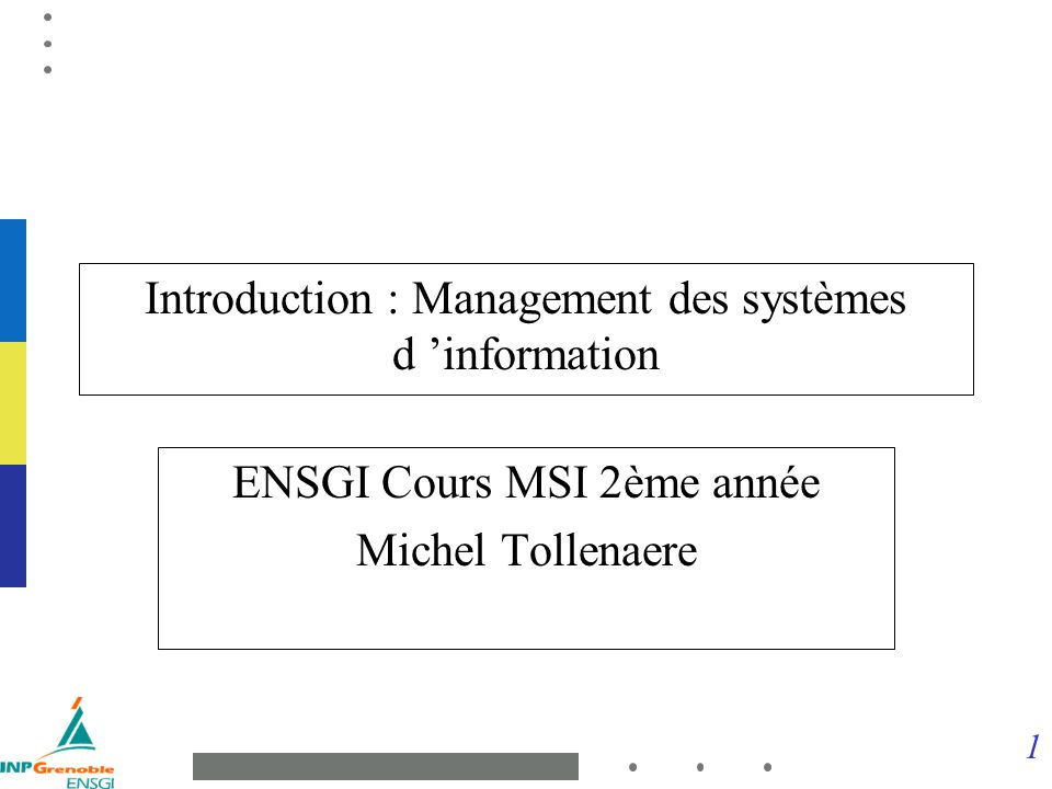 Introduction : Management des systèmes d 'information