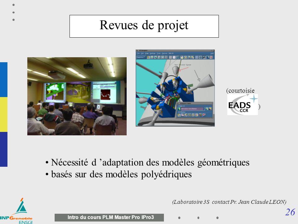 Revues de projet Nécessité d 'adaptation des modèles géométriques