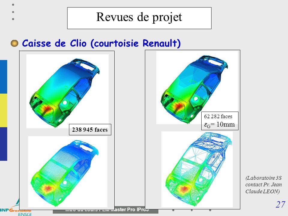 Revues de projet Caisse de Clio (courtoisie Renault) eG= 10mm