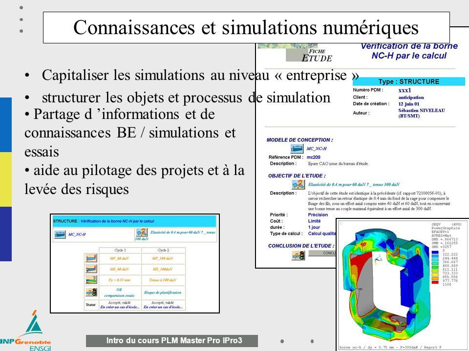 Connaissances et simulations numériques
