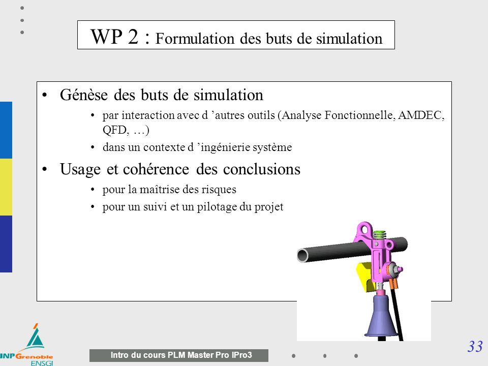 WP 2 : Formulation des buts de simulation