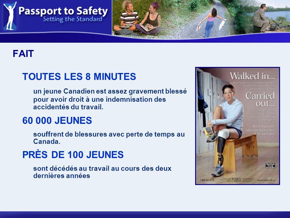 FAITTOUTES LES 8 MINUTES. un jeune Canadien est assez gravement blessé pour avoir droit à une indemnisation des accidentés du travail.