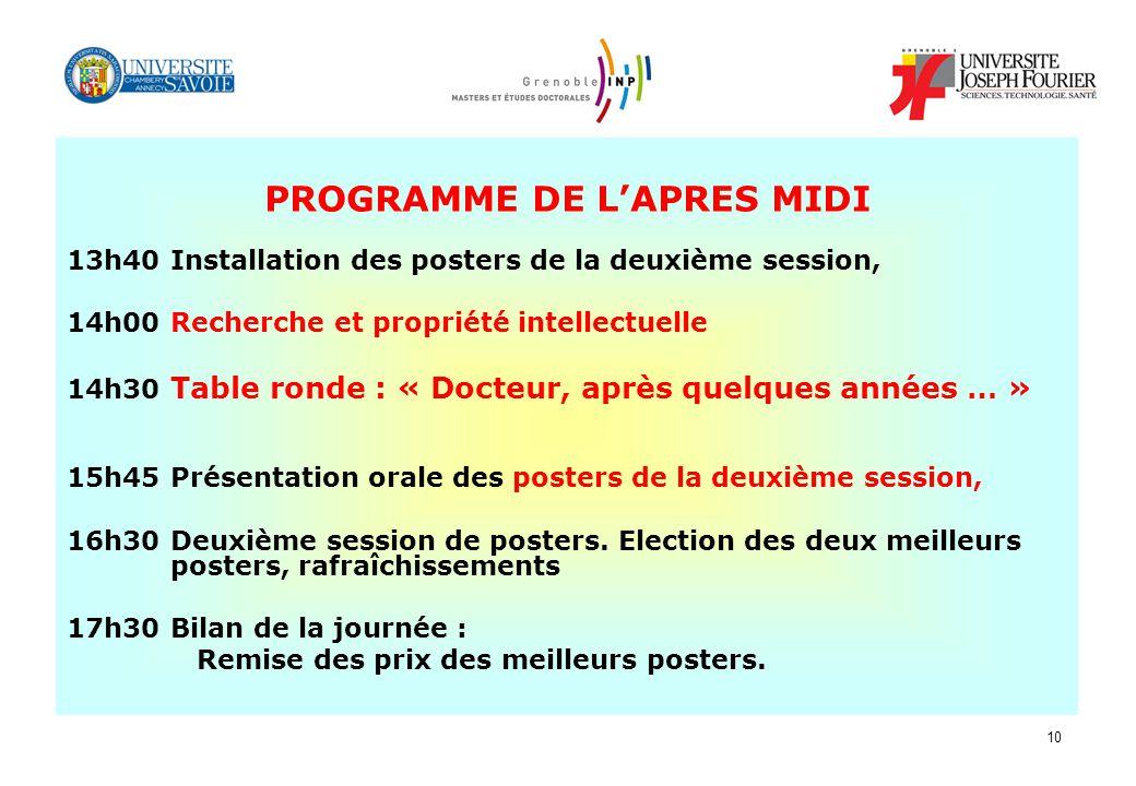 PROGRAMME DE L'APRES MIDI