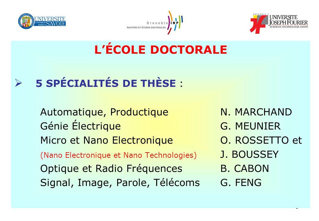 L'ÉCOLE DOCTORALE 5 SPÉCIALITÉS DE THÈSE : Génie Électrique G. MEUNIER
