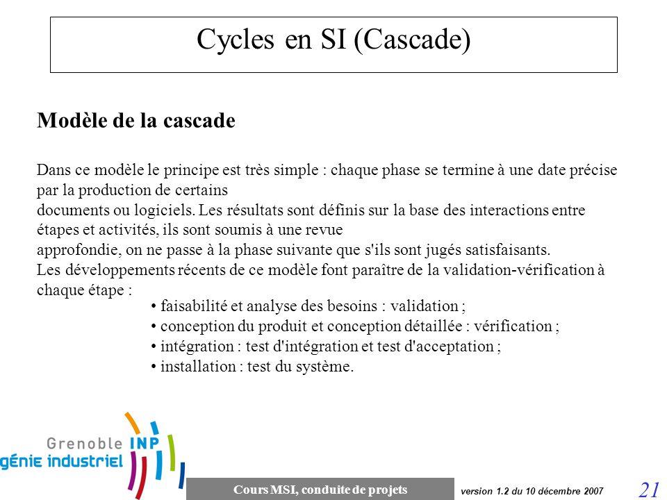 Cycles en SI (Cascade) Modèle de la cascade