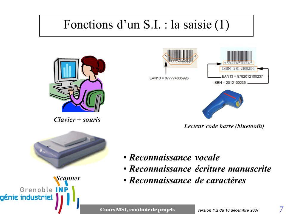 Fonctions d'un S.I. : la saisie (1)