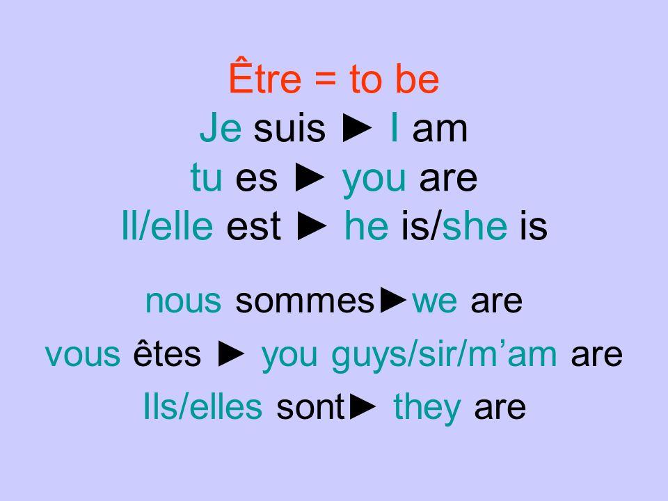Être = to be Je suis ► I am tu es ► you are Il/elle est ► he is/she is