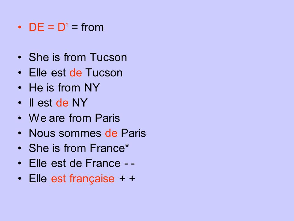 DE = D' = from She is from Tucson. Elle est de Tucson. He is from NY. Il est de NY. We are from Paris.