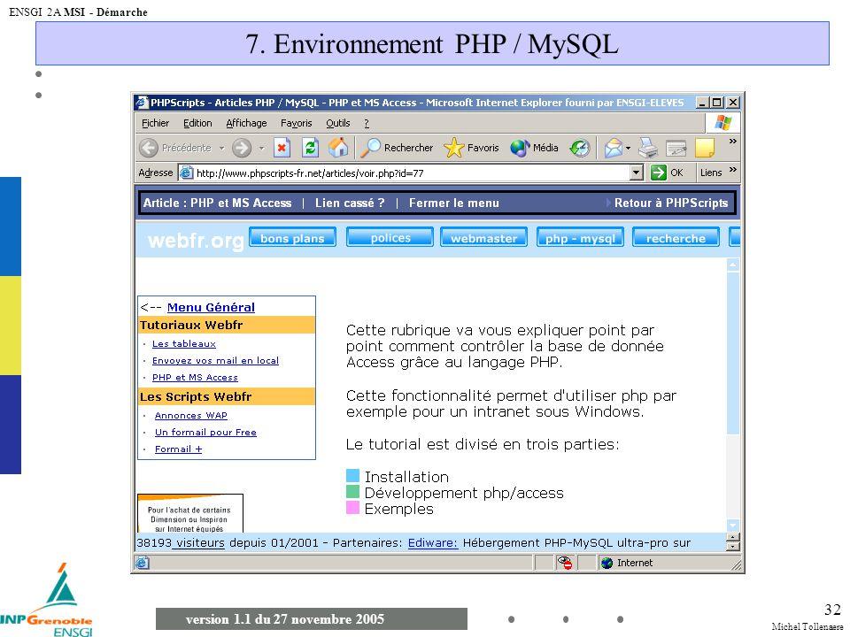 7. Environnement PHP / MySQL