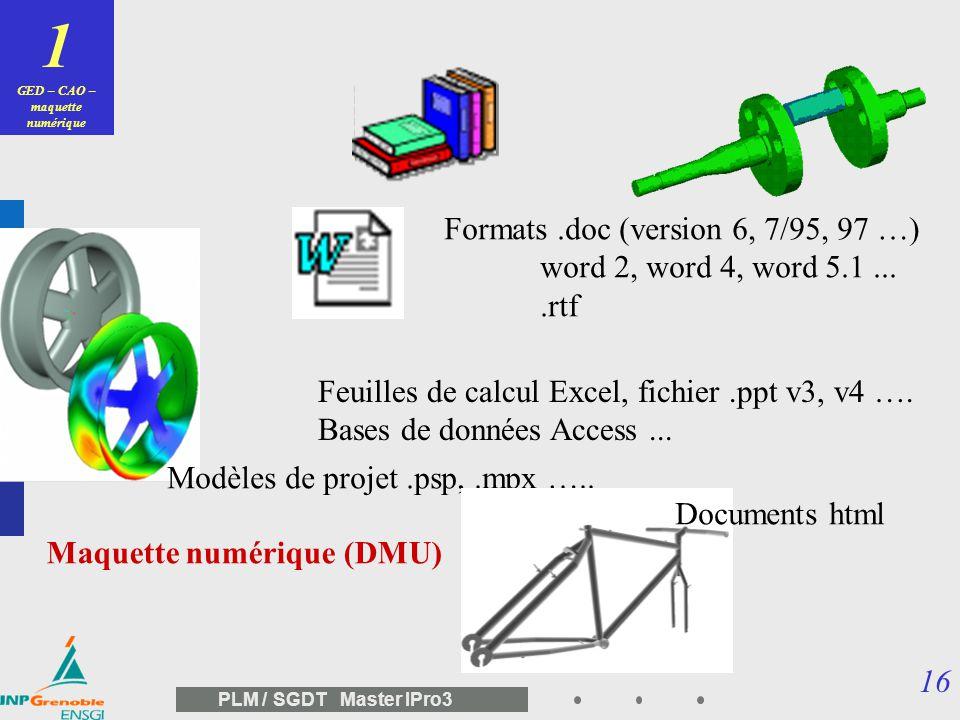 GED – CAO – maquette numérique