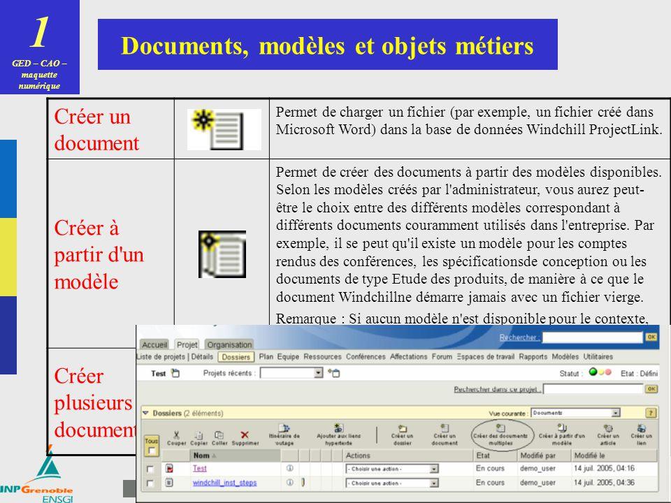 GED – CAO – maquette numérique Documents, modèles et objets métiers