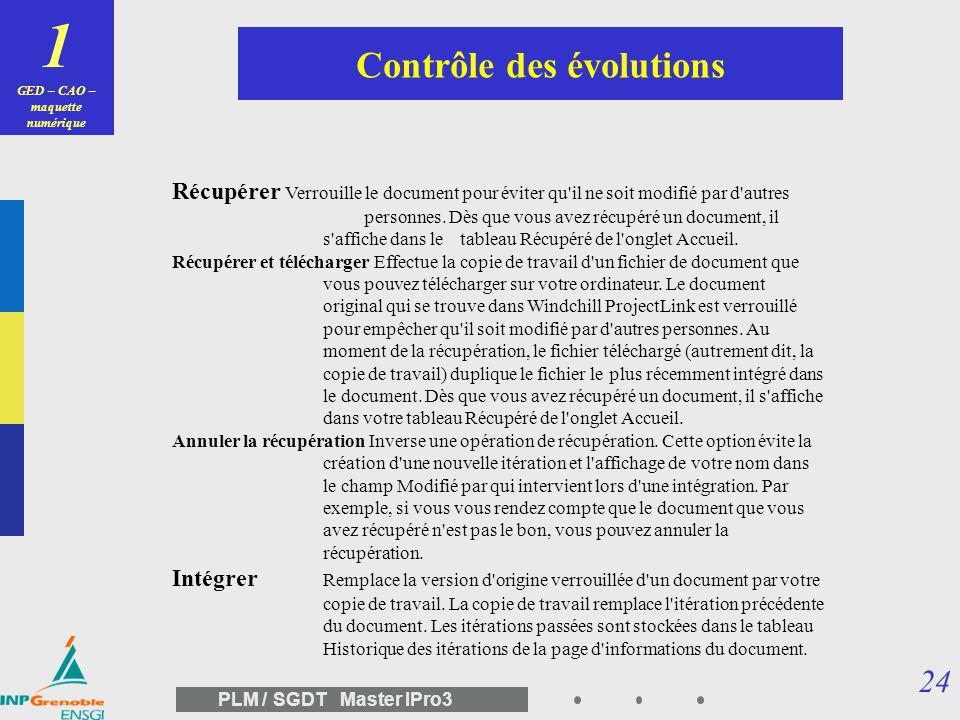 GED – CAO – maquette numérique Contrôle des évolutions
