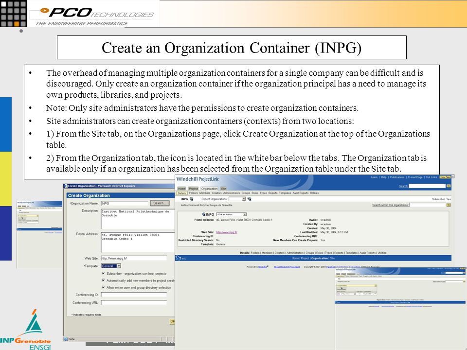 Create an Organization Container (INPG)