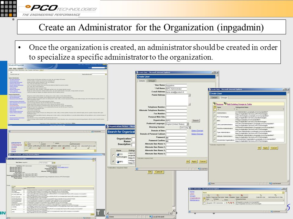 Create an Administrator for the Organization (inpgadmin)