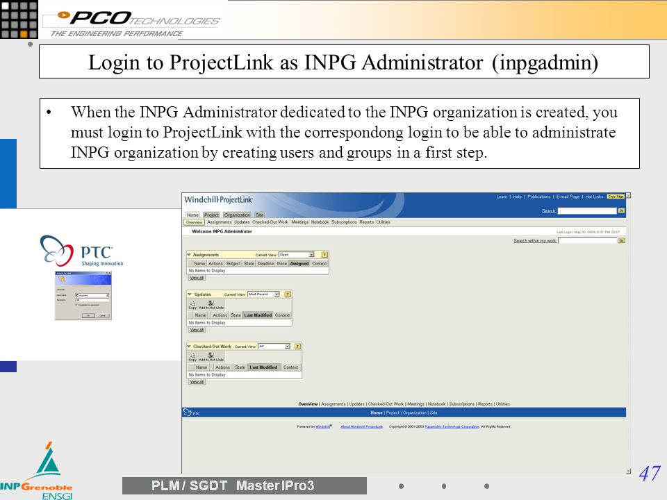 Login to ProjectLink as INPG Administrator (inpgadmin)