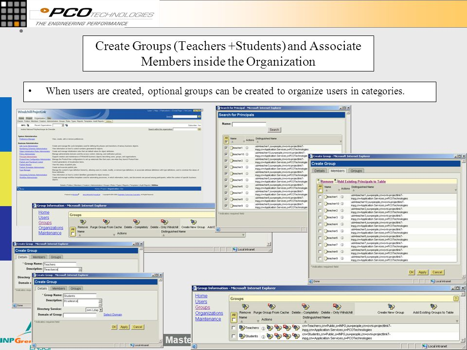 Create Groups (Teachers +Students) and Associate Members inside the Organization