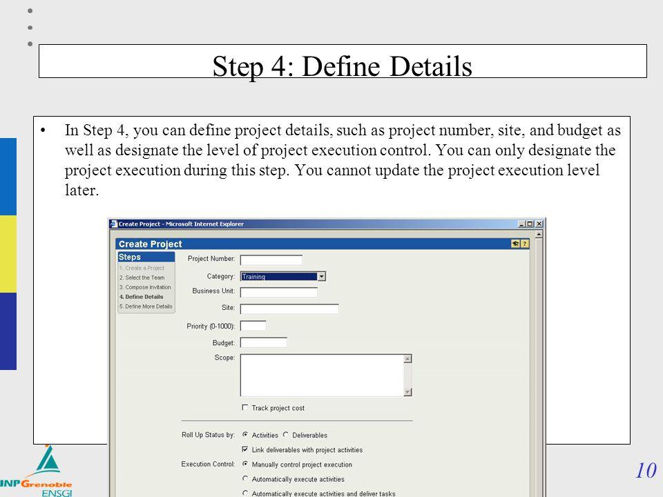 Step 4: Define Details