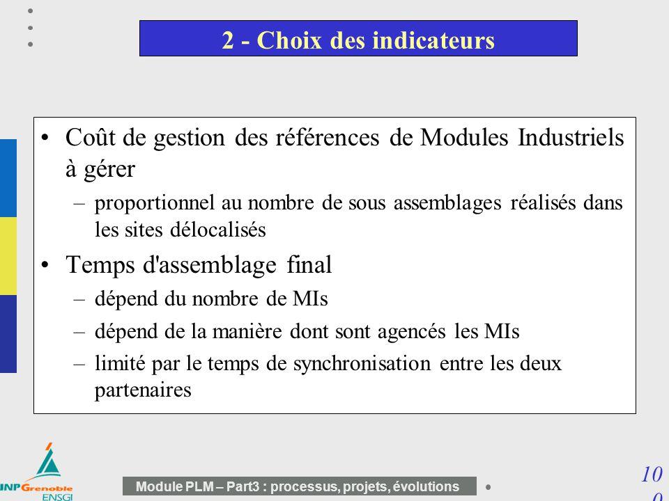 2 - Choix des indicateurs