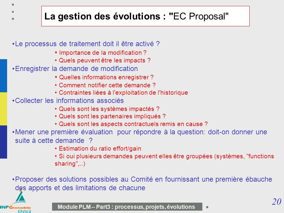 La gestion des évolutions : EC Proposal