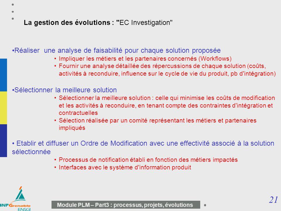 La gestion des évolutions : EC Investigation