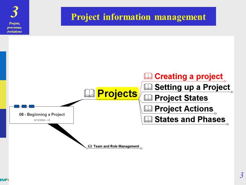 Projets, processus, évolutions Project information management