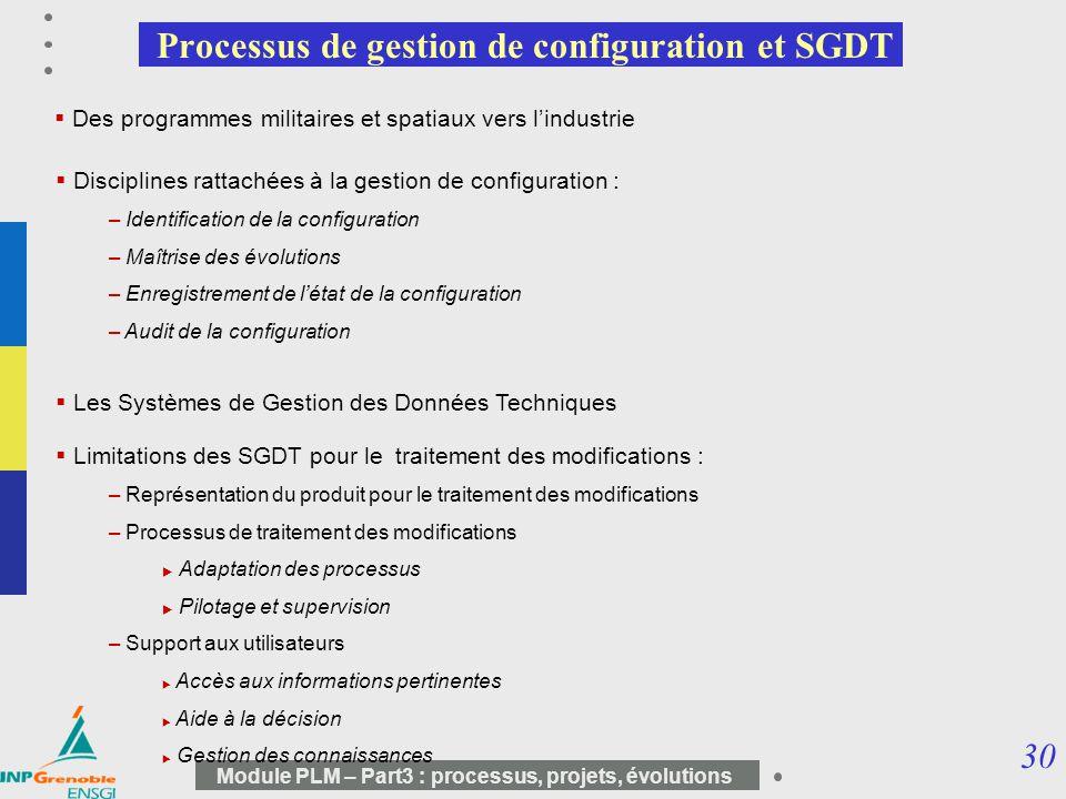 Processus de gestion de configuration et SGDT