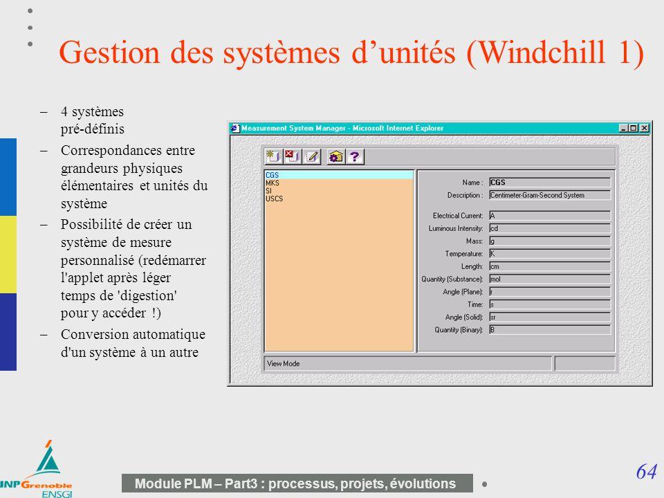 Gestion des systèmes d'unités (Windchill 1)
