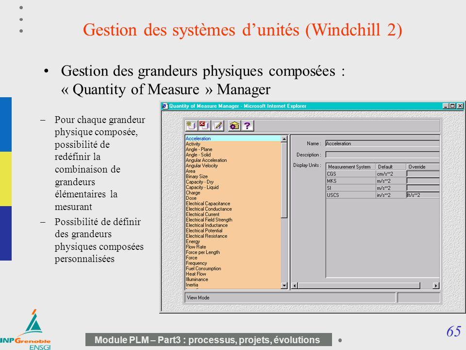 Gestion des systèmes d'unités (Windchill 2)