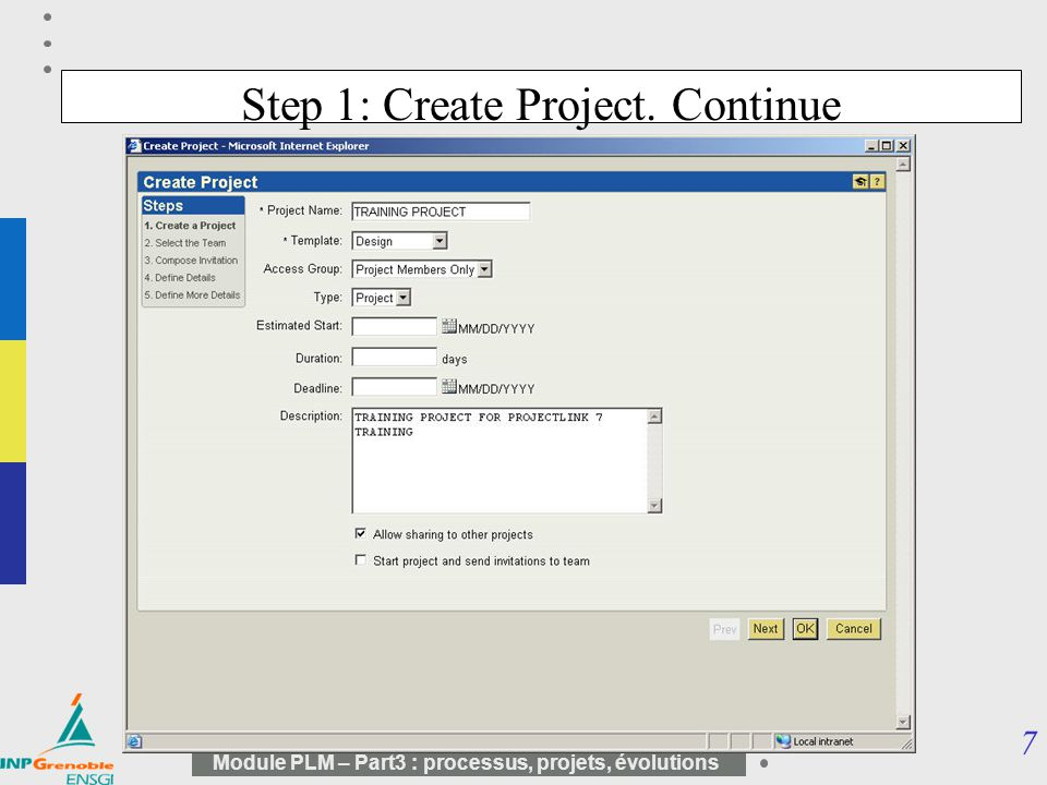 Step 1: Create Project. Continue