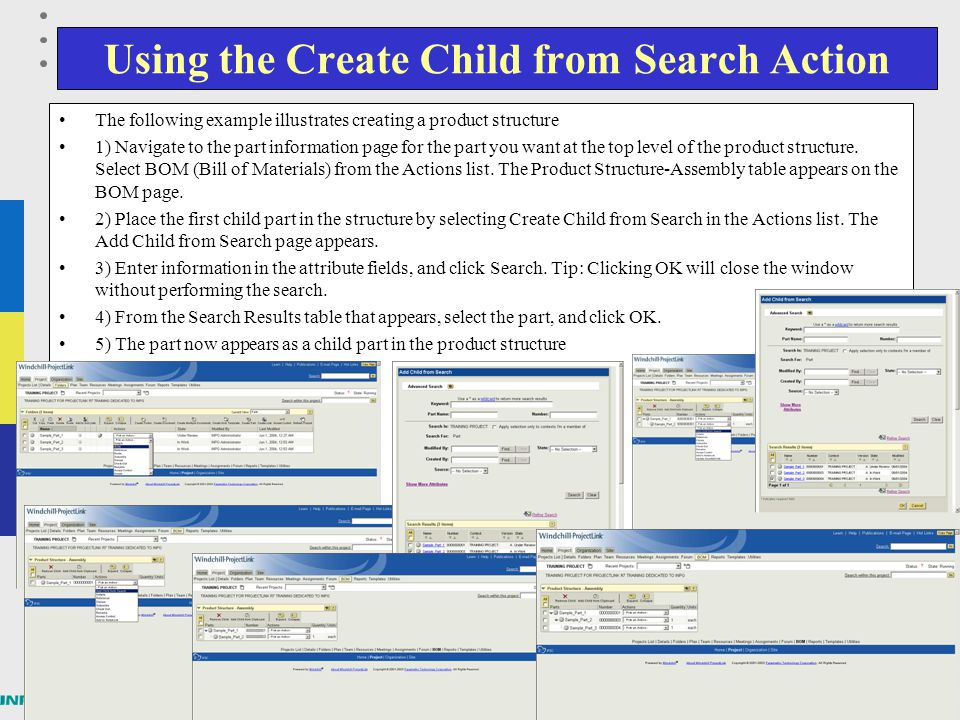 Using the Create Child from Search Action