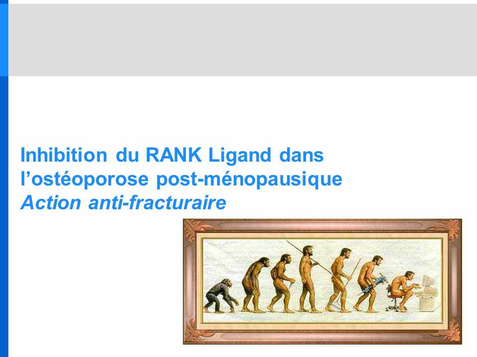 Inhibition du RANK Ligand dans l'ostéoporose post-ménopausique Action anti-fracturaire