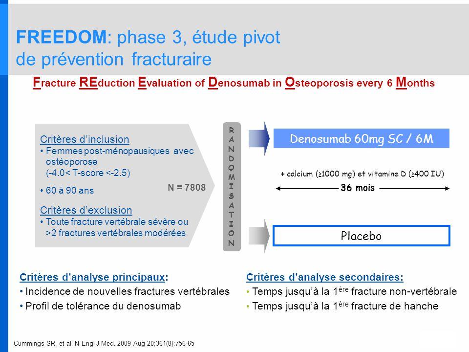 FREEDOM: phase 3, étude pivot de prévention fracturaire
