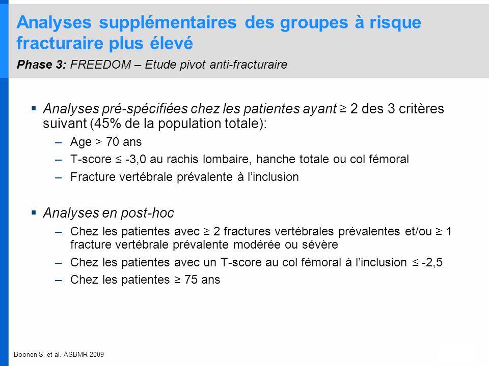 Analyses supplémentaires des groupes à risque fracturaire plus élevé Phase 3: FREEDOM – Etude pivot anti-fracturaire