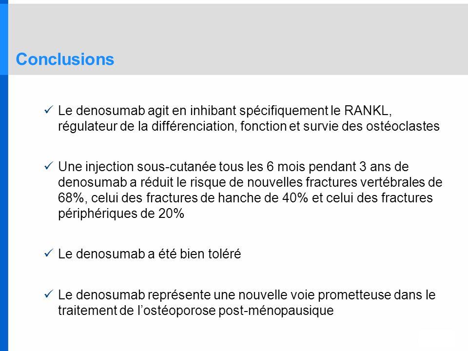 Conclusions Le denosumab agit en inhibant spécifiquement le RANKL, régulateur de la différenciation, fonction et survie des ostéoclastes.