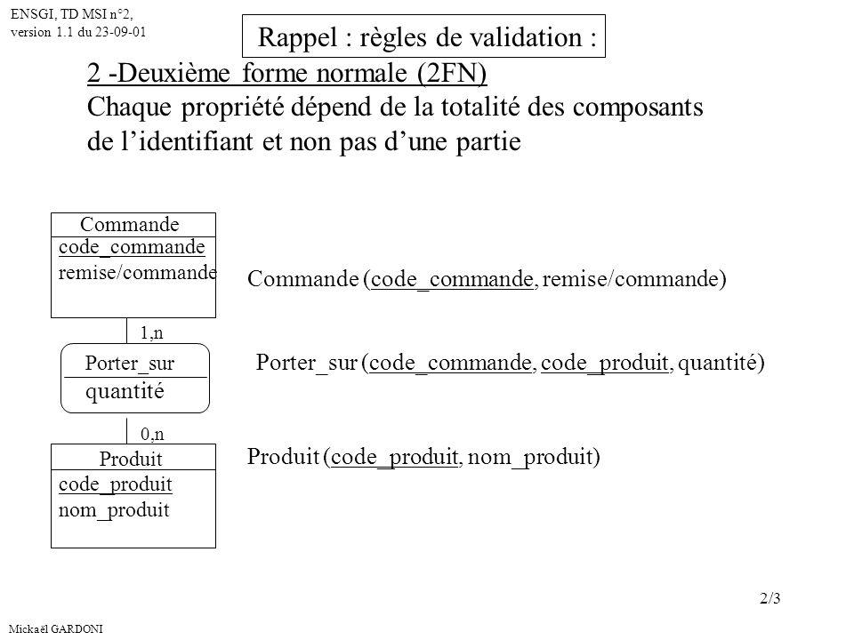 Rappel : règles de validation : 2 -Deuxième forme normale (2FN)