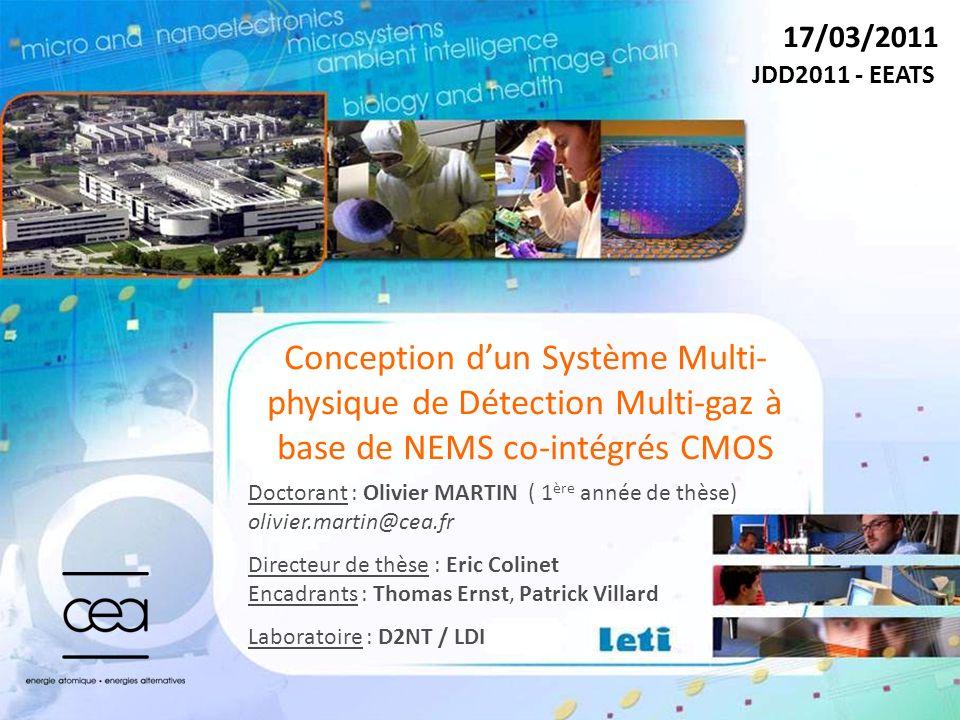 17/03/2011 JDD2011 - EEATS. Conception d'un Système Multi-physique de Détection Multi-gaz à base de NEMS co-intégrés CMOS.