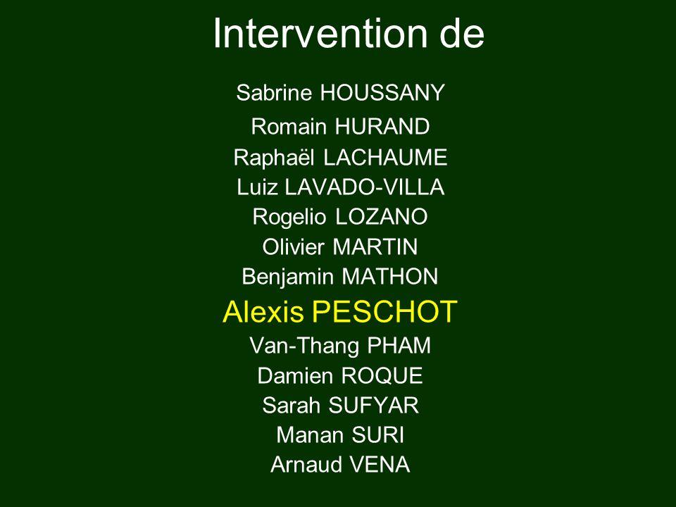 Intervention de Alexis PESCHOT Sabrine HOUSSANY Romain HURAND