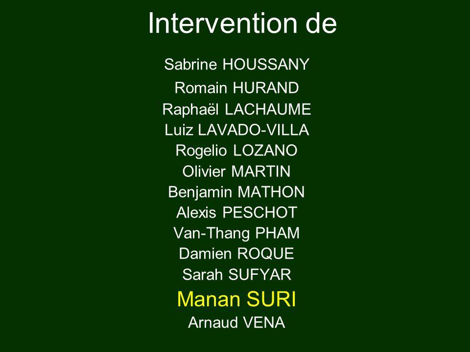 Intervention de Manan SURI Sabrine HOUSSANY Romain HURAND