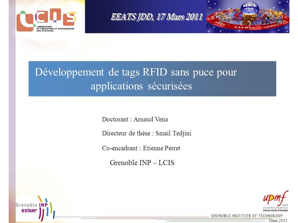 Développement de tags RFID sans puce pour applications sécurisées