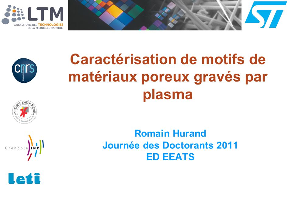Caractérisation de motifs de matériaux poreux gravés par plasma