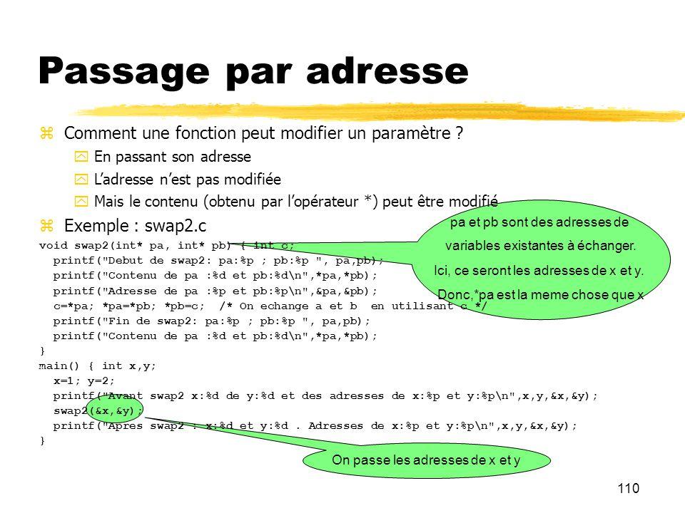 Passage par adresse Comment une fonction peut modifier un paramètre