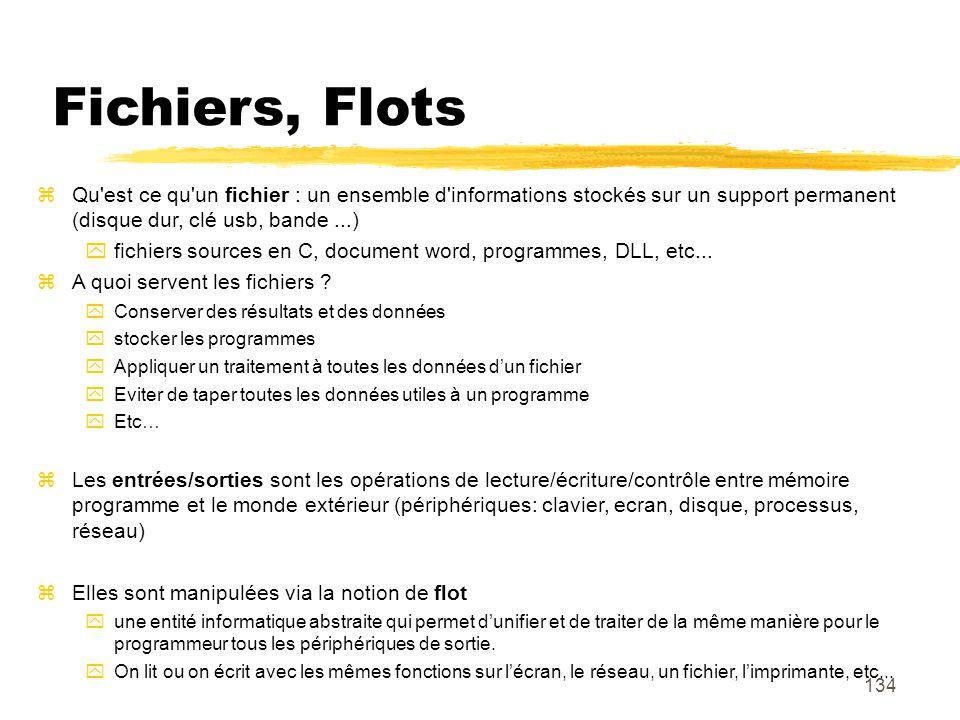 Fichiers, Flots Qu est ce qu un fichier : un ensemble d informations stockés sur un support permanent (disque dur, clé usb, bande ...)