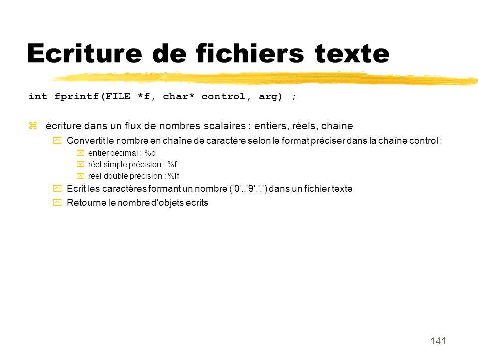 Ecriture de fichiers texte