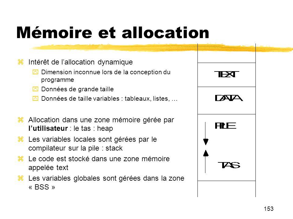 Mémoire et allocation Intérêt de l'allocation dynamique