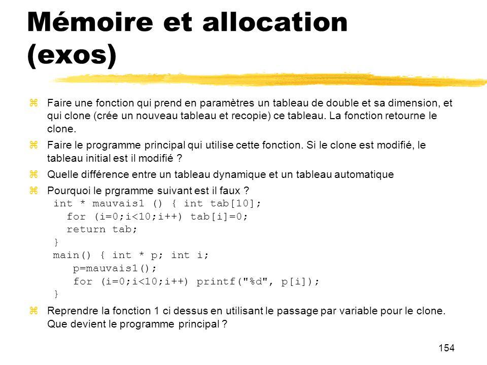 Mémoire et allocation (exos)